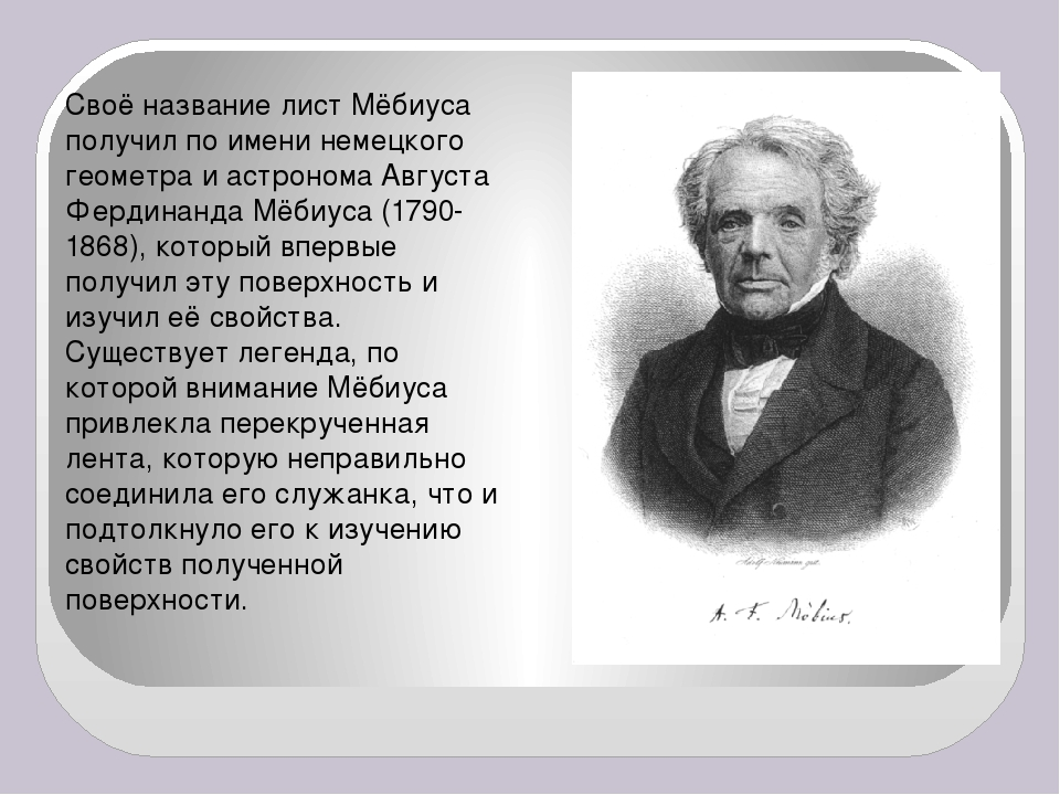 Своё название лист Мёбиуса получил по имени немецкого геометра и астронома Ав...