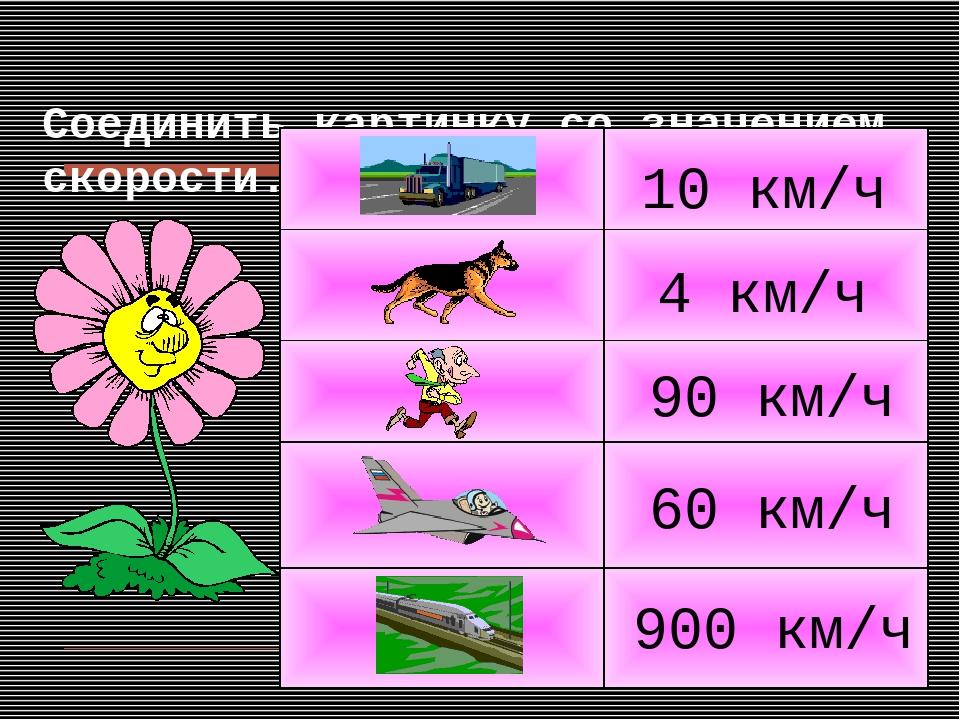 Соединить картинку со значением скорости. 4 км/ч 10 км/ч 900 км/ч 90 км/ч 60...