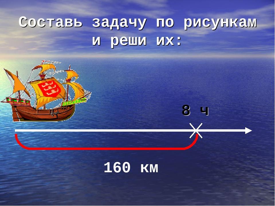Составь задачу по рисункам и реши их: 8 ч 160 км