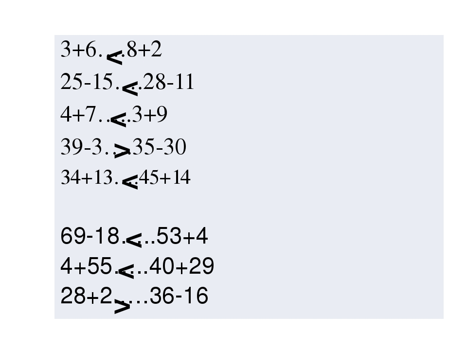 < < < > < < < > 3+6….8+2 25-15….28-11 4+7…..3+9 39-3….35-30 34+13….45+14 69-1...