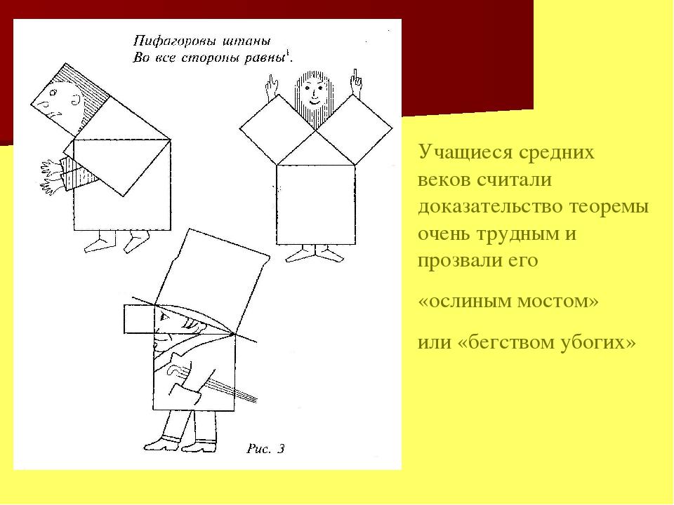Учащиеся средних веков считали доказательство теоремы очень трудным и прозвал...