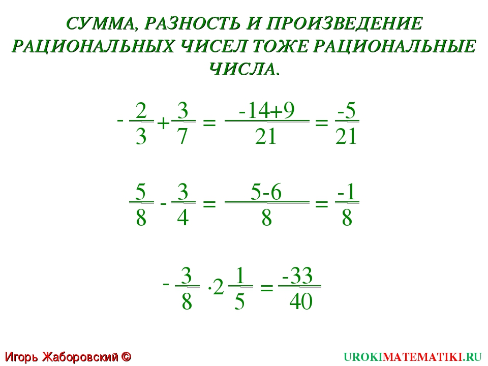 Игорь Жаборовский © 2011 UROKIMATEMATIKI.RU 2 3 + 3 7 = -14+9 21 = -5 21 - 5...