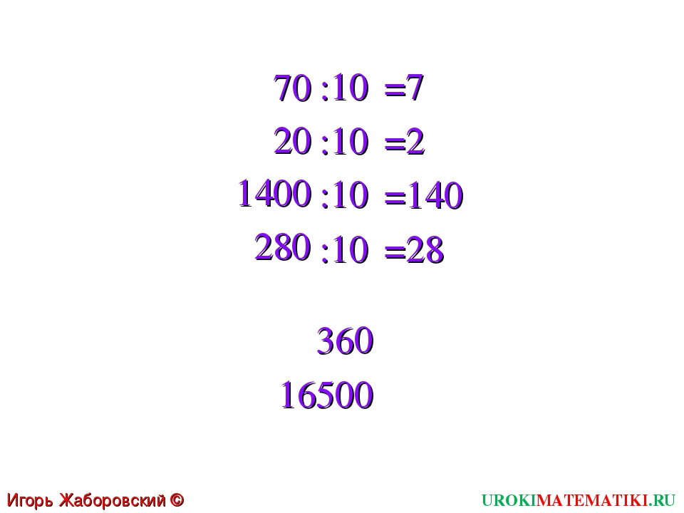 70 20 1400 280 :10 :10 :10 :10 =7 =2 =140 =28 36 0 1650 0 UROKIMATEMATIKI.RU...