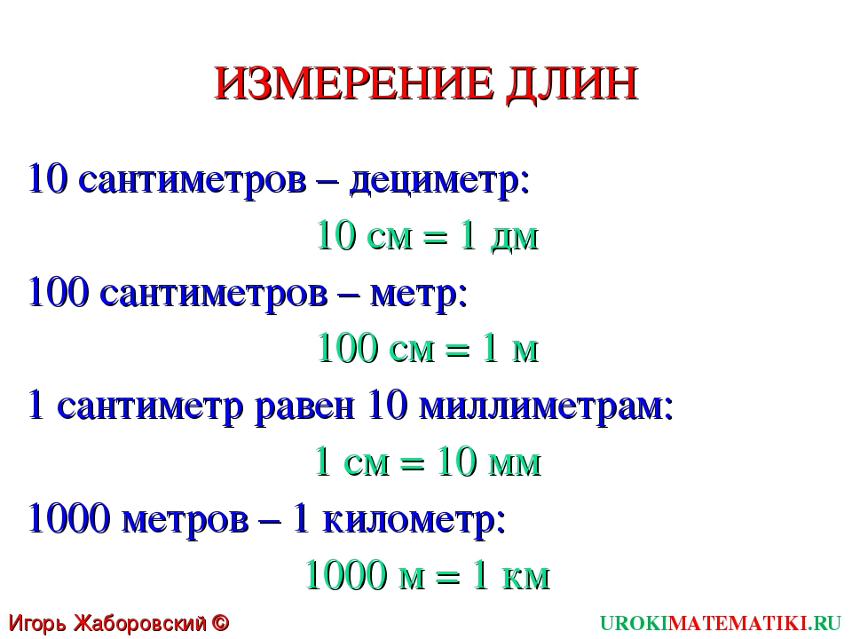 ИЗМЕРЕНИЕ ДЛИН 10 сантиметров – дециметр: 10 см = 1 дм 100 сантиметров – метр...