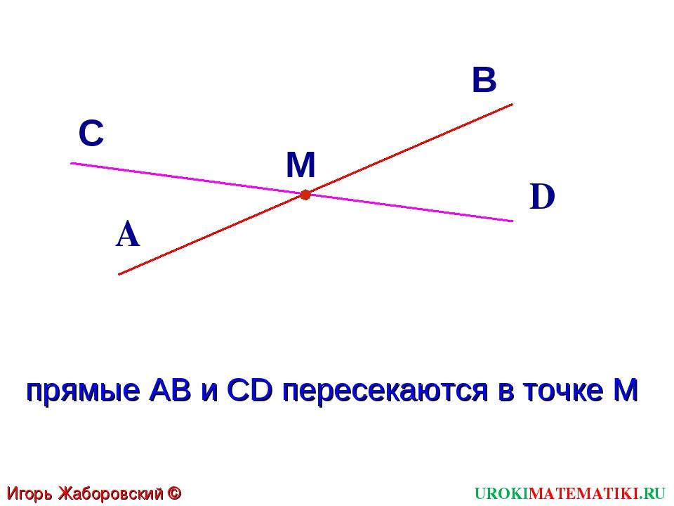 D С М В А прямые АВ и CD пересекаются в точке М Игорь Жаборовский © 2011 UROK...