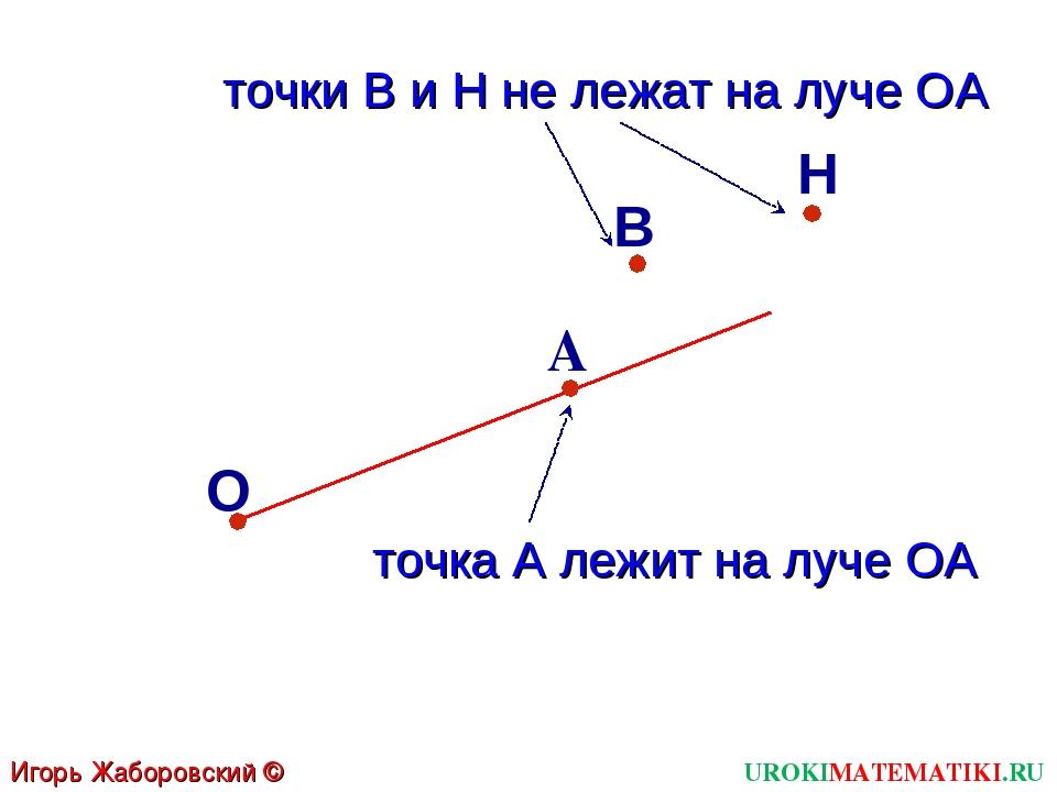 В О А точка А лежит на луче ОА Н точки В и Н не лежат на луче ОА Игорь Жаборо...