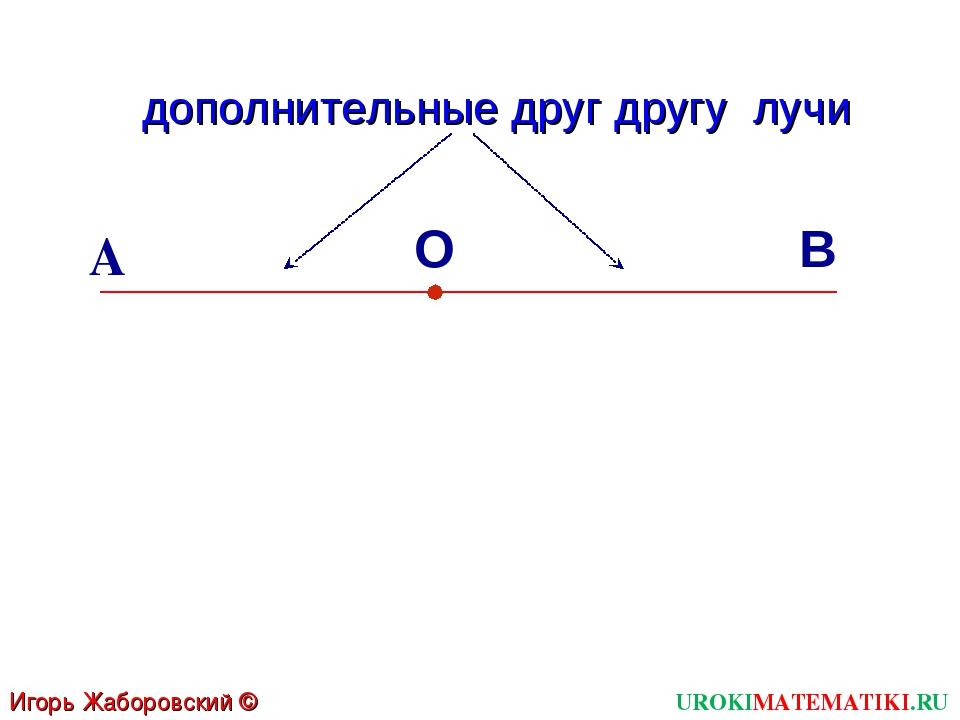 В О А Игорь Жаборовский © 2011 UROKIMATEMATIKI.RU дополнительные друг другу лучи