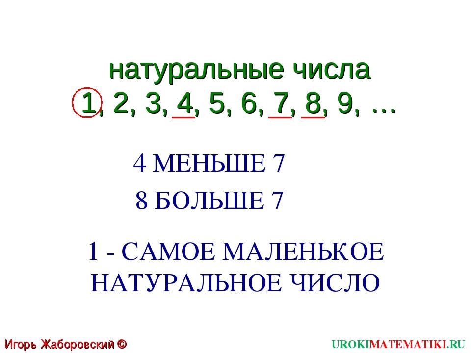 UROKIMATEMATIKI.RU Игорь Жаборовский © 2011 натуральные числа 1, 2, 3, 4, 5,...