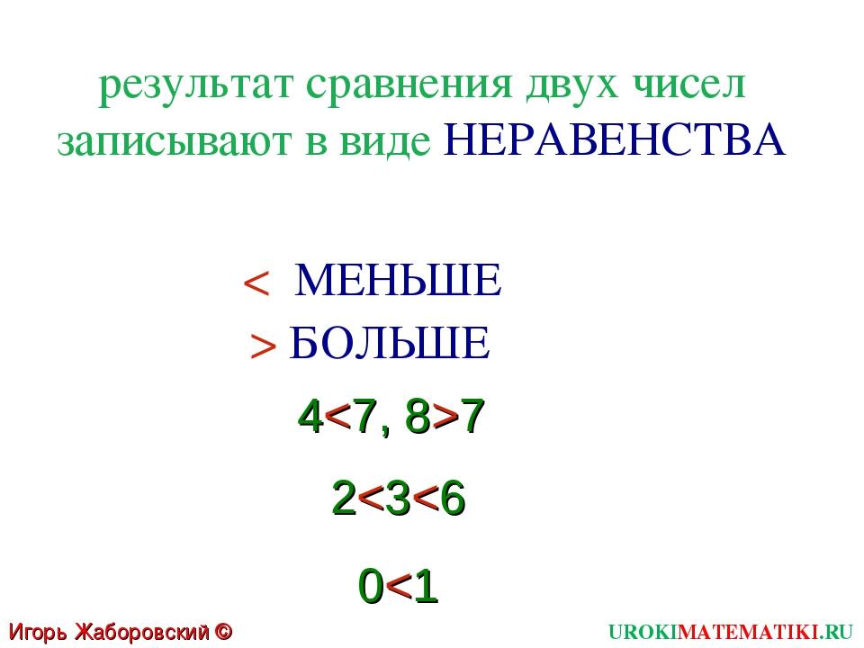 результат сравнения двух чисел записывают в виде НЕРАВЕНСТВА < МЕНЬШЕ > БОЛЬШ...