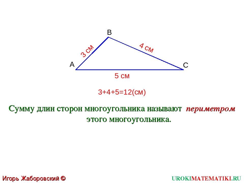 UROKIMATEMATIKI.RU Игорь Жаборовский © 2011 A С B Сумму длин сторон многоугол...