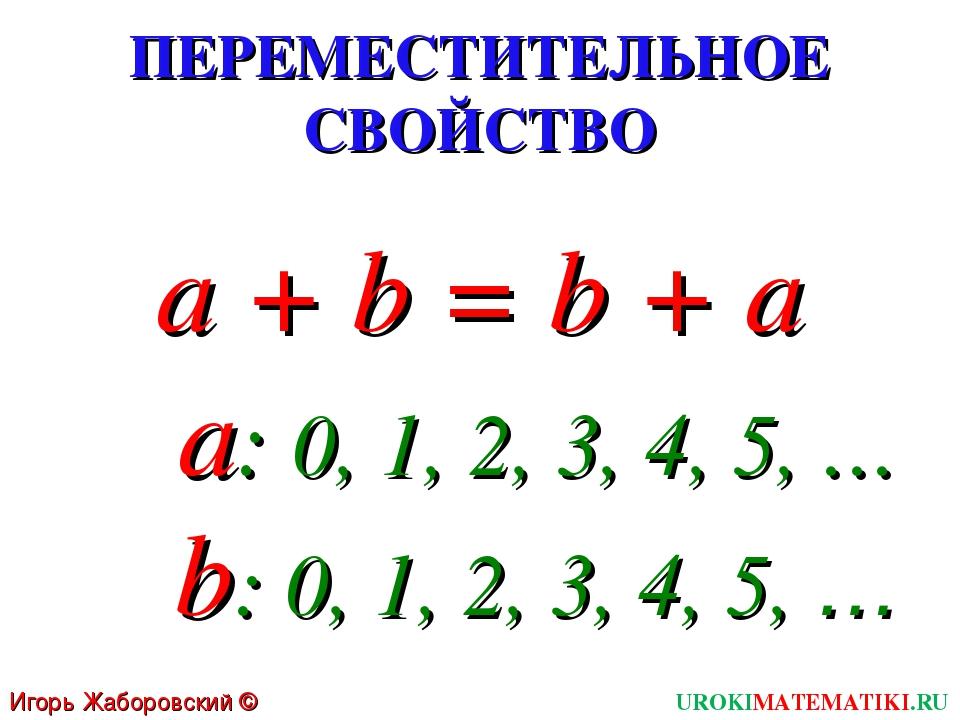 ПЕРЕМЕСТИТЕЛЬНОЕ СВОЙСТВО a + b = b + a Игорь Жаборовский © 2011 UROKIMATEMAT...