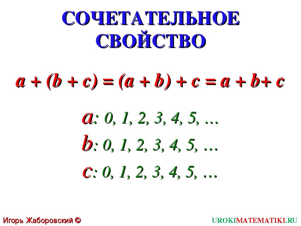 СОЧЕТАТЕЛЬНОЕ СВОЙСТВО a + (b + c) = (a + b) + c = a + b+ c Игорь Жаборовский...