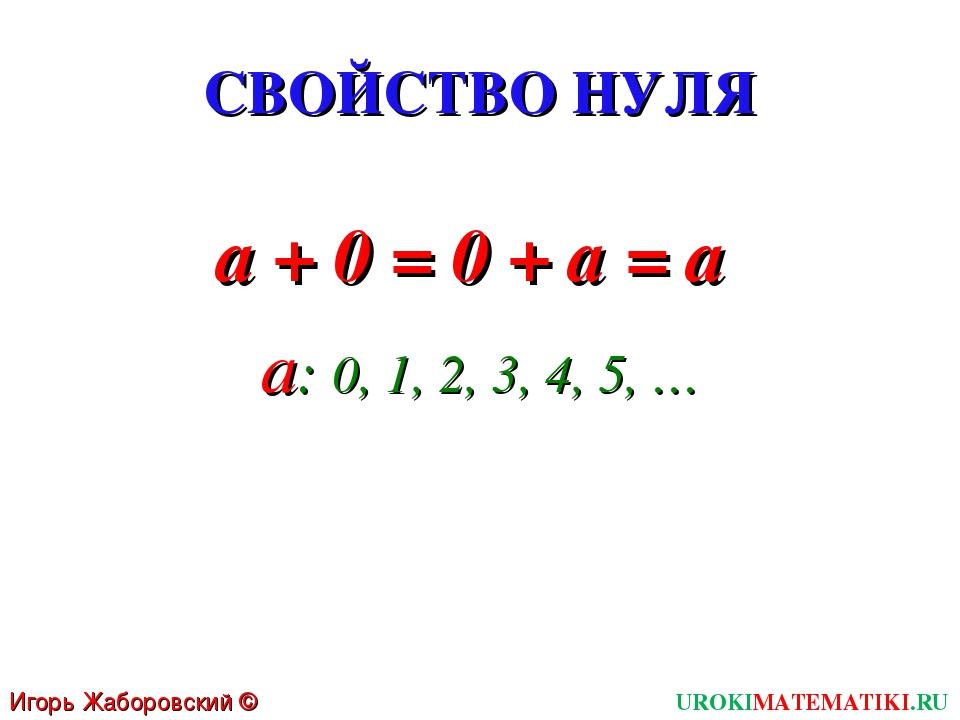 СВОЙСТВО НУЛЯ a + 0 = 0 + а = a Игорь Жаборовский © 2011 UROKIMATEMATIKI.RU a...
