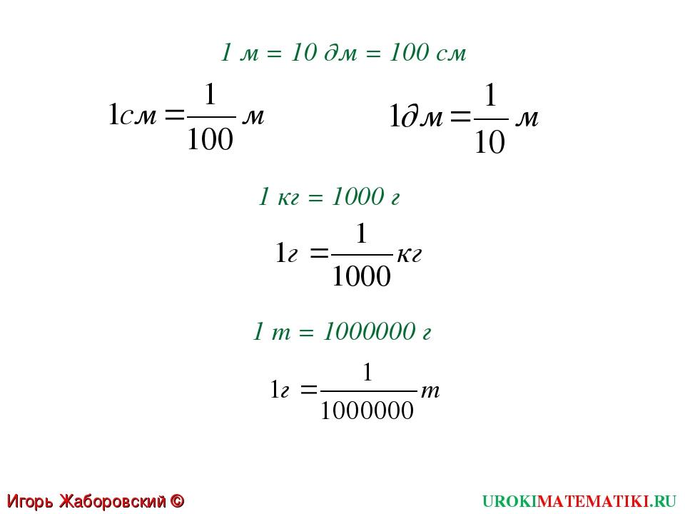 1 м = 10 дм = 100 см 1 кг = 1000 г 1 т = 1000000 г Игорь Жаборовский © 2011 U...