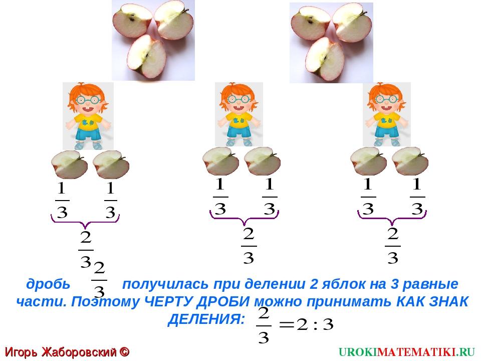 Игорь Жаборовский © 2011 UROKIMATEMATIKI.RU дробь получилась при делении 2 яб...