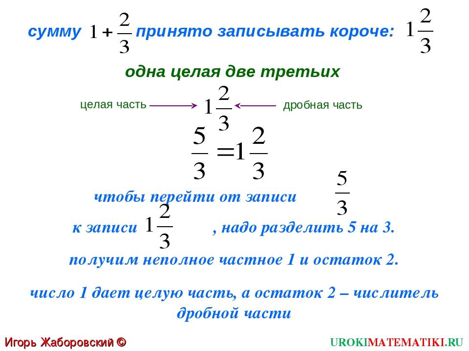 Игорь Жаборовский © 2011 UROKIMATEMATIKI.RU сумму принято записывать короче:...