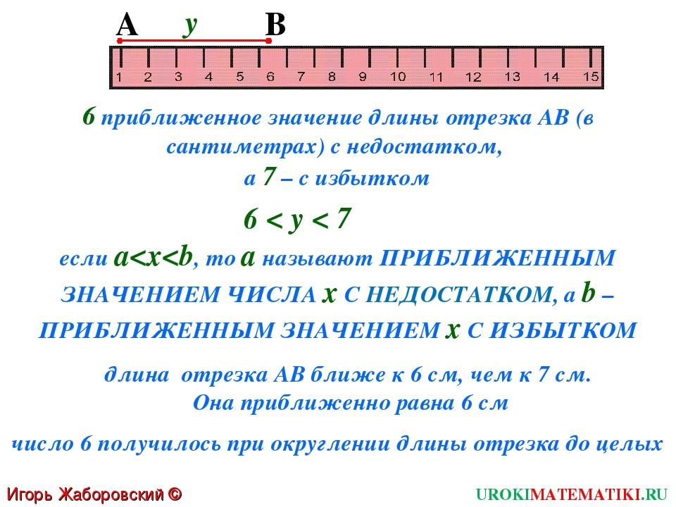 Игорь Жаборовский © 2011 UROKIMATEMATIKI.RU А B 6 приближенное значение длины...