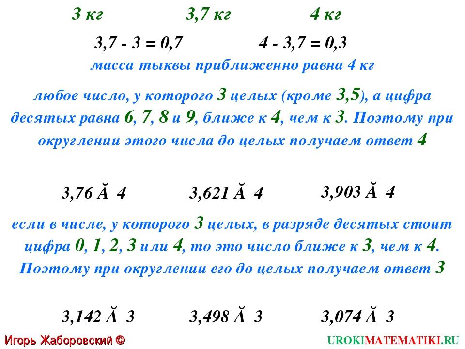 Игорь Жаборовский © 2011 UROKIMATEMATIKI.RU масса тыквы приближенно равна 4 к...