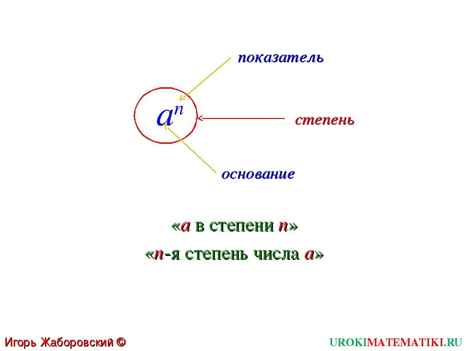 an UROKIMATEMATIKI.RU Игорь Жаборовский © 2011 основание показатель степень «...