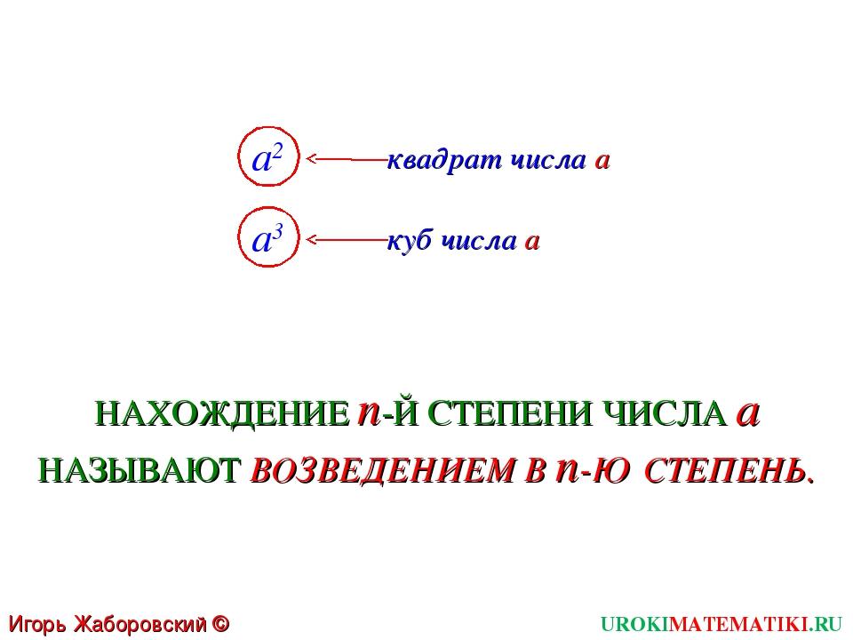 UROKIMATEMATIKI.RU Игорь Жаборовский © 2011 a2 квадрат числа a a3 куб числа a...