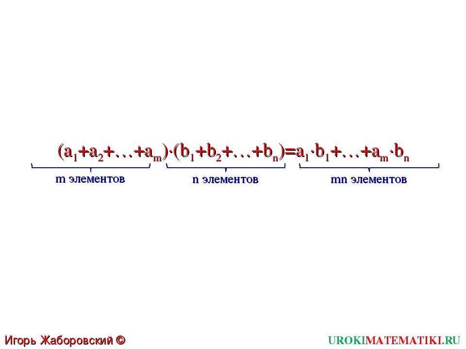 UROKIMATEMATIKI.RU Игорь Жаборовский © 2011 (a1+a2+…+am)∙(b1+b2+…+bn)=a1∙b1+…...