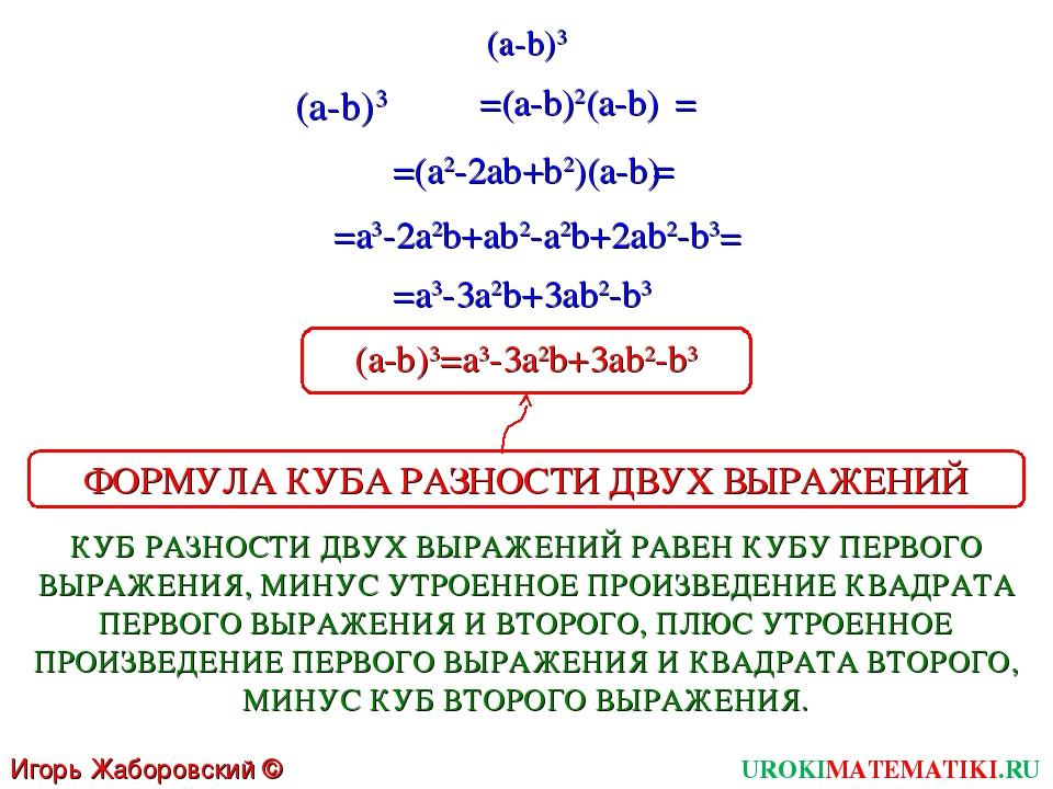(a-b)3 UROKIMATEMATIKI.RU Игорь Жаборовский © 2011 (a-b)3 =(a2-2ab+b2)(a-b) =...