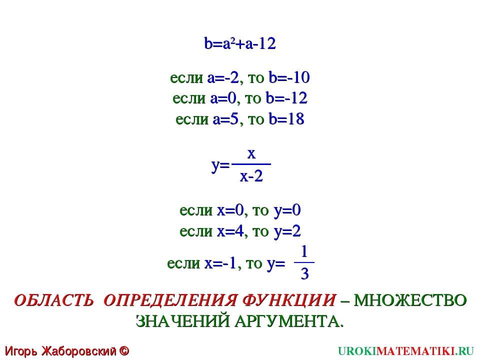 b=a2+a-12 y= UROKIMATEMATIKI.RU Игорь Жаборовский © 2011 x x-2 если а=-2, то...