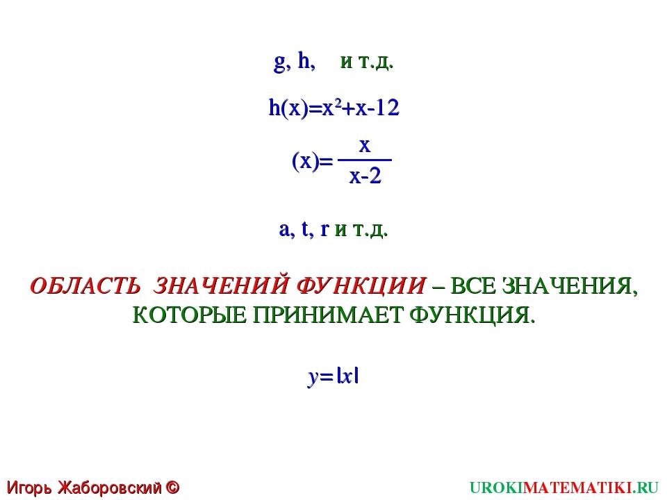 g, h,  и т.д. (x)= UROKIMATEMATIKI.RU Игорь Жаборовский © 2011 x x-2 ОБЛАСТ...