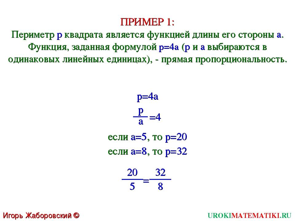 ПРИМЕР 1: Периметр p квадрата является функцией длины его стороны a. Функция,...