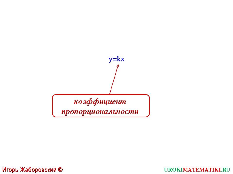 y=kx UROKIMATEMATIKI.RU Игорь Жаборовский © 2011 коэффициент пропорциональности