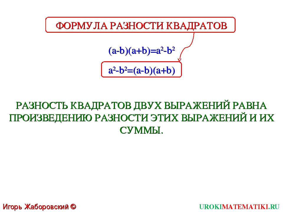 UROKIMATEMATIKI.RU Игорь Жаборовский © 2011 (a-b)(a+b)=a2-b2 РАЗНОСТЬ КВАДРАТ...