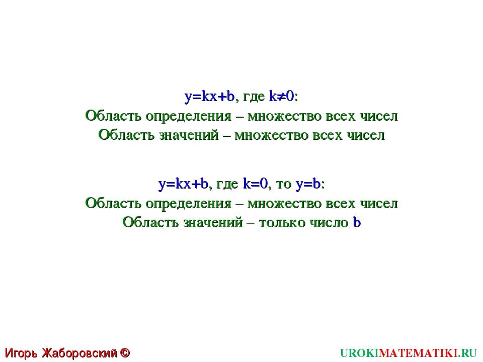 UROKIMATEMATIKI.RU Игорь Жаборовский © 2011 y=kx+b, где k≠0: Область определе...