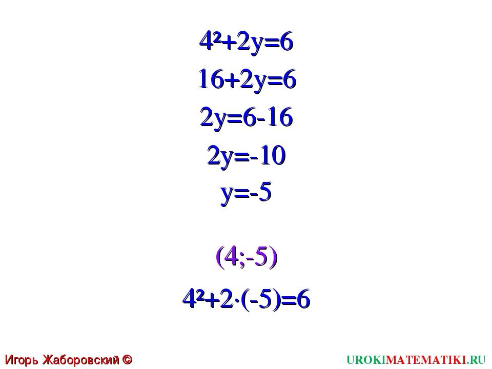 UROKIMATEMATIKI.RU Игорь Жаборовский © 2011 4²+2y=6 16+2y=6 2y=6-16 2y=-10 y=...