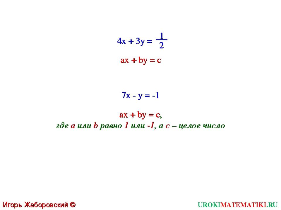 UROKIMATEMATIKI.RU Игорь Жаборовский © 2011 4x + 3y = 1 2 ax + by = c 7x - y...