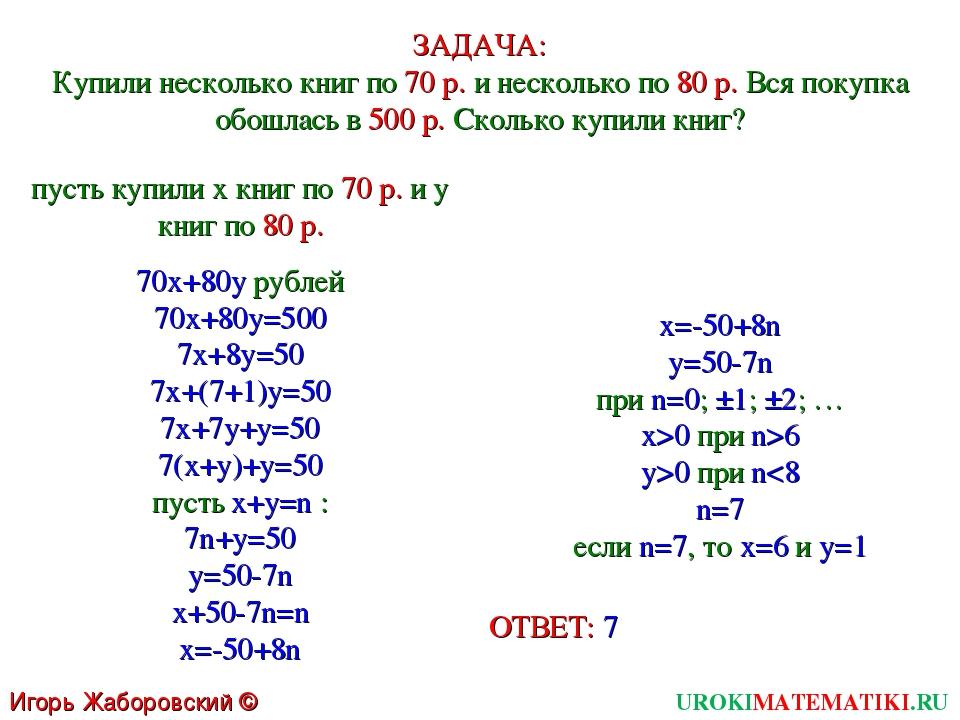 UROKIMATEMATIKI.RU Игорь Жаборовский © 2011 ЗАДАЧА: Купили несколько книг по...