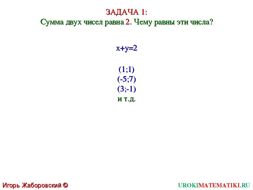 UROKIMATEMATIKI.RU Игорь Жаборовский © 2011 ЗАДАЧА 1: Сумма двух чисел равна...
