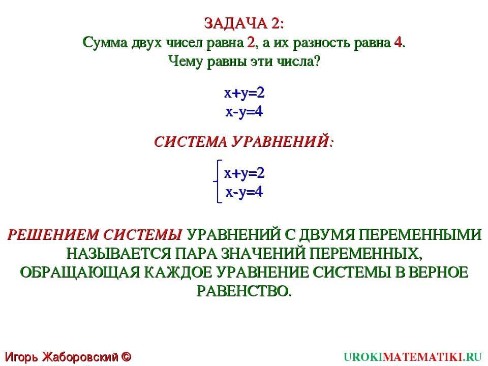 UROKIMATEMATIKI.RU Игорь Жаборовский © 2011 ЗАДАЧА 2: Сумма двух чисел равна...