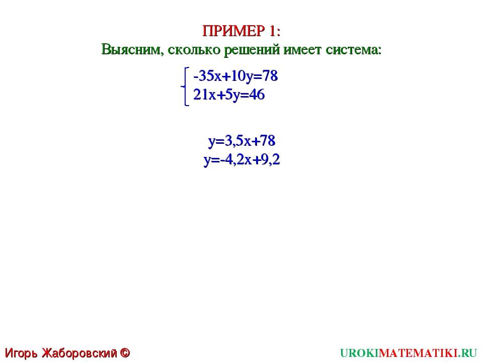 UROKIMATEMATIKI.RU Игорь Жаборовский © 2011 ПРИМЕР 1: Выясним, сколько решени...