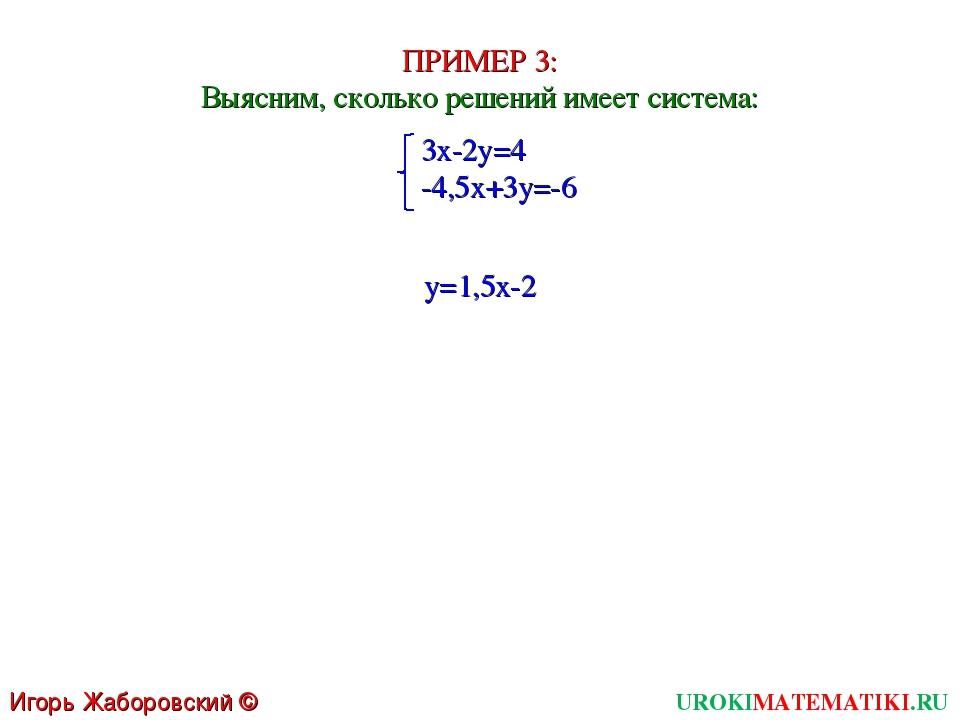 UROKIMATEMATIKI.RU Игорь Жаборовский © 2011 ПРИМЕР 3: Выясним, сколько решени...