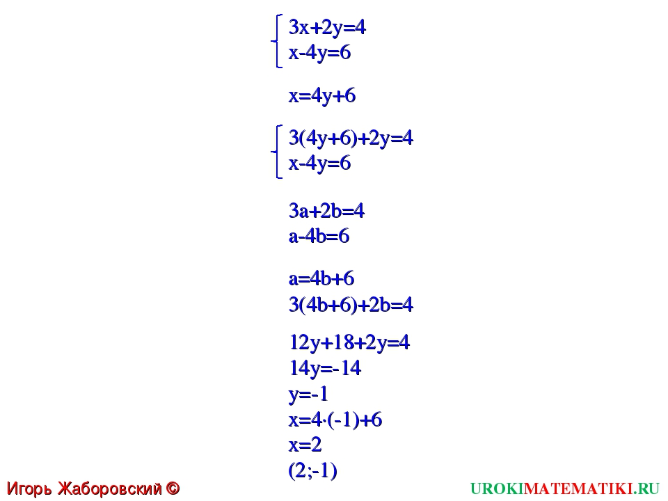 UROKIMATEMATIKI.RU Игорь Жаборовский © 2011 3x+2y=4 x-4y=6 x=4y+6 3(4y+6)+2y=...