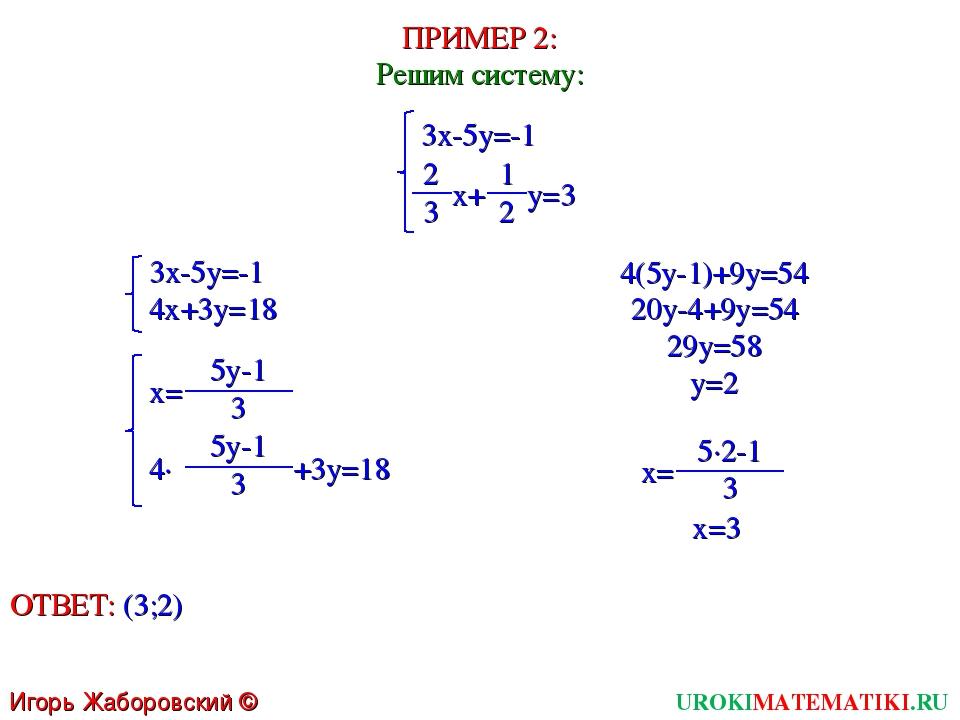 UROKIMATEMATIKI.RU Игорь Жаборовский © 2011 ПРИМЕР 2: Решим систему: 3x-5y=-1...