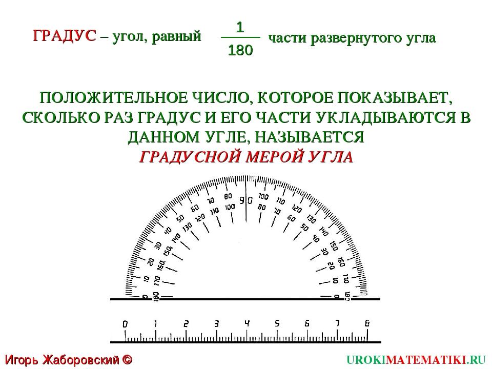 UROKIMATEMATIKI.RU Игорь Жаборовский © 2011 ГРАДУС – угол, равный 1 180 части...