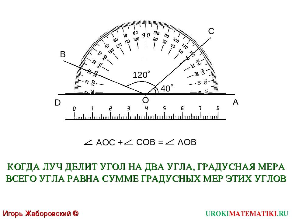 О A C UROKIMATEMATIKI.RU Игорь Жаборовский © 2011 D B 40˚ 120˚ АОC + COB = АО...