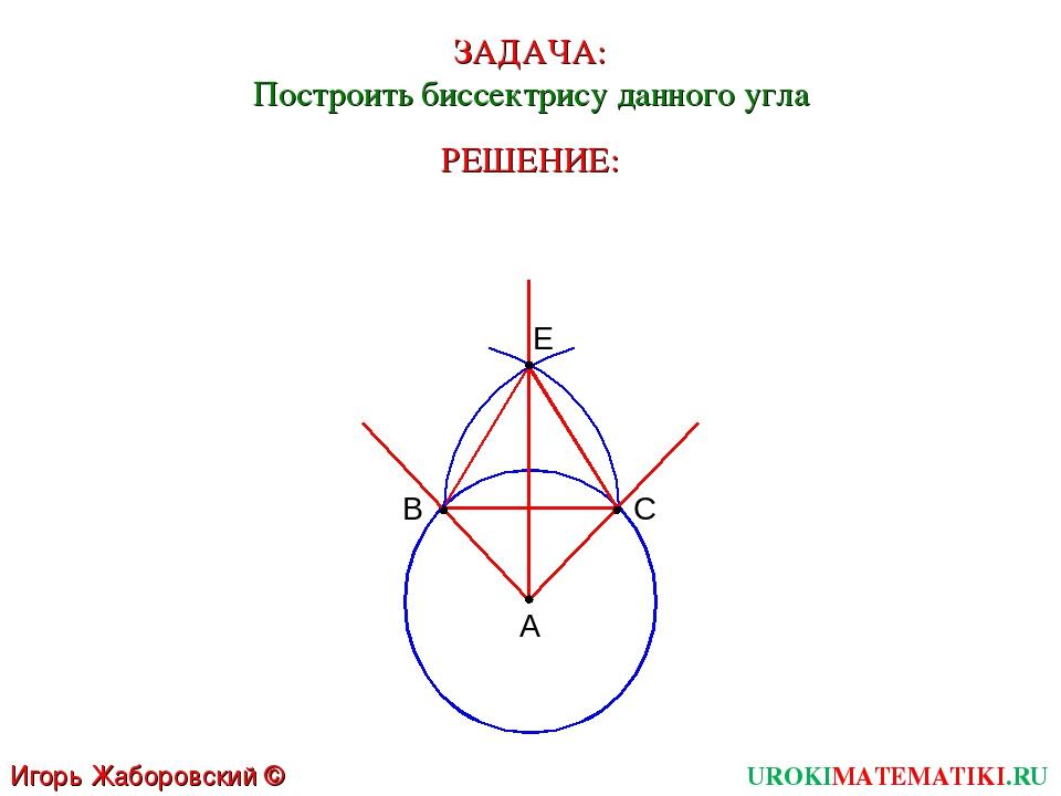 ЗАДАЧА: Построить биссектрису данного угла А РЕШЕНИЕ: UROKIMATEMATIKI.RU Игор...