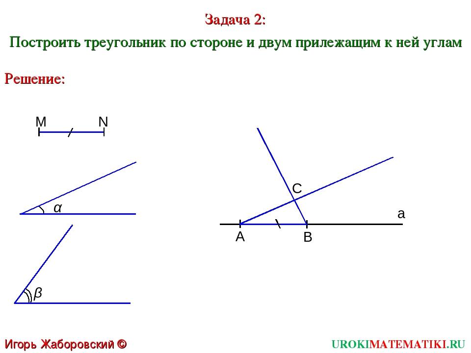 UROKIMATEMATIKI.RU Игорь Жаборовский © 2011 Задача 2: Построить треугольник п...