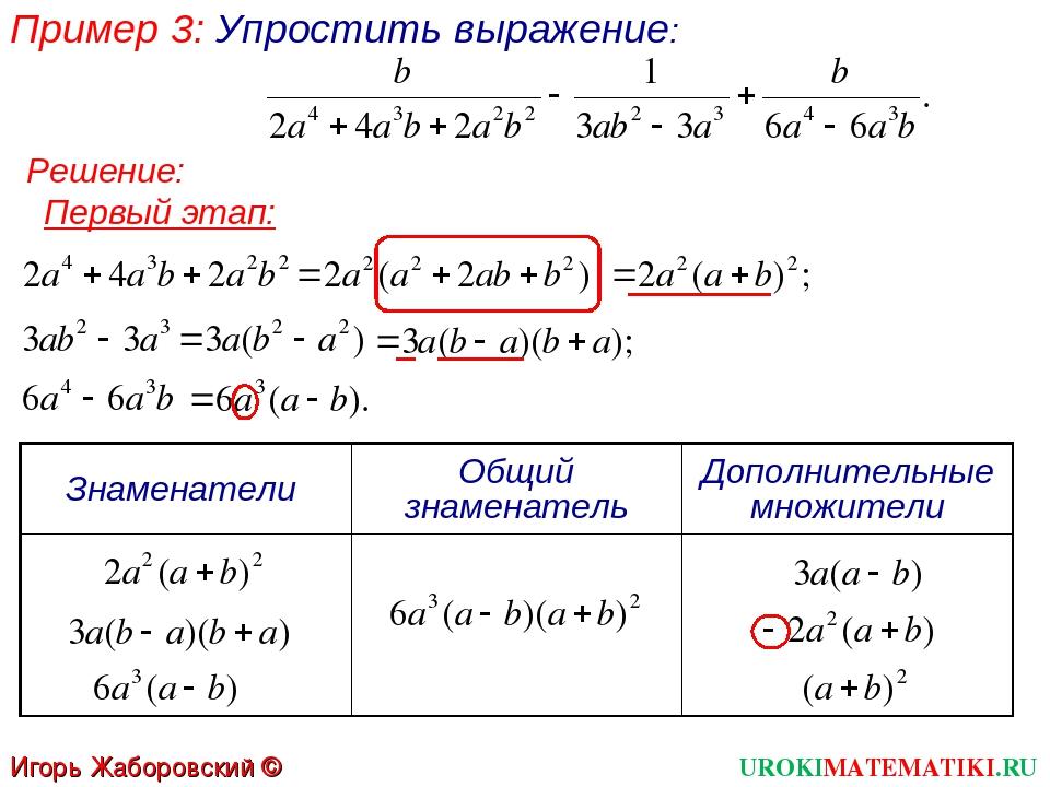 Пример 3: Упростить выражение: Первый этап: Решение: UROKIMATEMATIKI.RU Игорь...