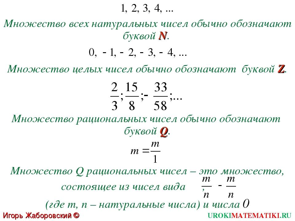 Множество всех натуральных чисел обычно обозначают буквой N. Множество целых...