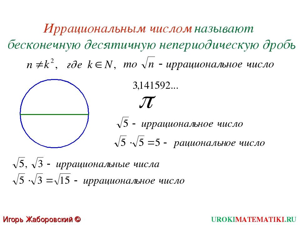 Иррациональным числом называют бесконечную десятичную непериодическую дробь U...