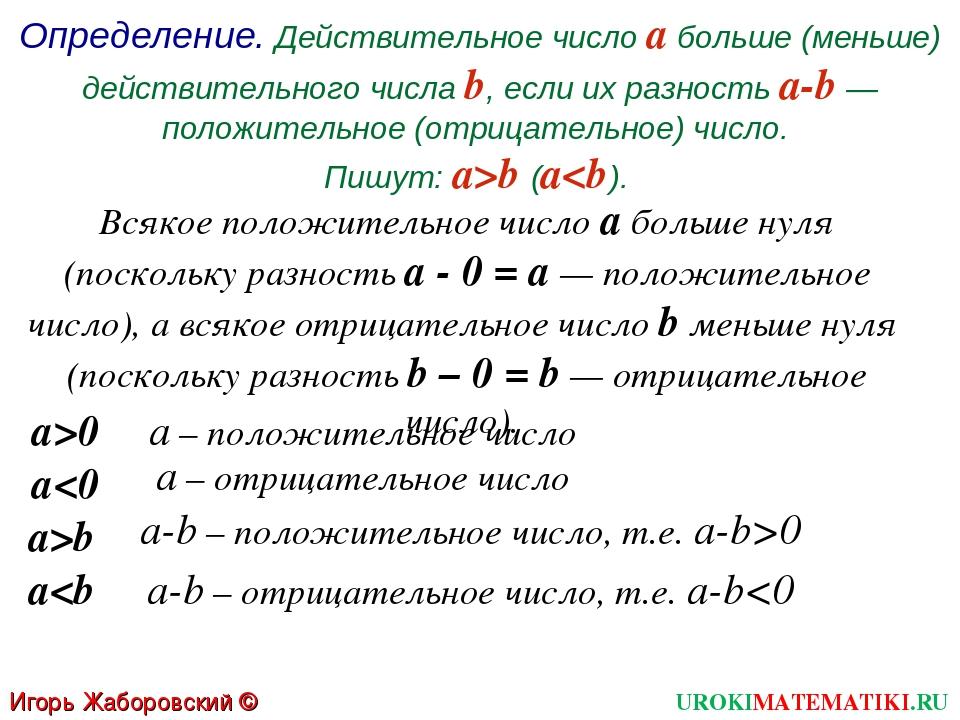 Определение. Действительное число а больше (меньше) действительного числа b,...