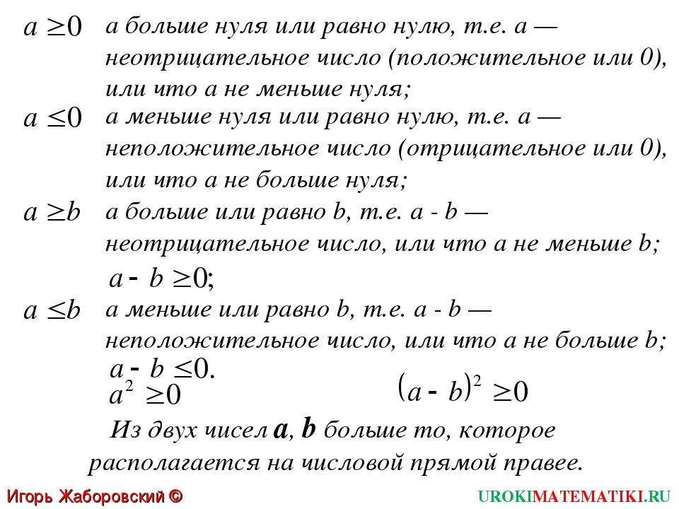 а больше нуля или равно нулю, т.е. а — неотрицательное число (положительное и...